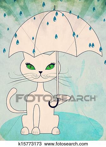 手绘图 - 猫, 在下面, 大雨图片