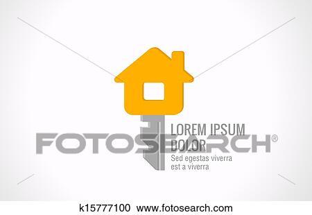 clipart logo real estate vector design house key realty creative idea fotosearch