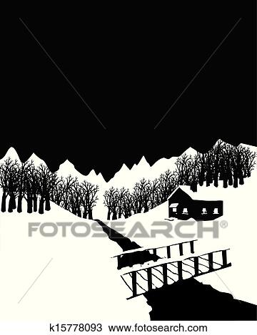 clipart schwarz wei winterlandschaft mit h tte in dass w lder k15778093 suche clip. Black Bedroom Furniture Sets. Home Design Ideas