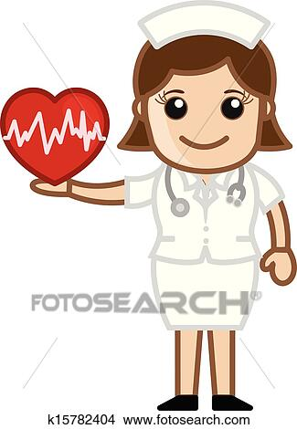 Clipart of Nurse Holding Heart - Medical k15782404 - Search Clip ...