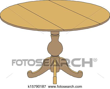 Clip art of wooden round table k15790187 search clipart for Tisch graphic design