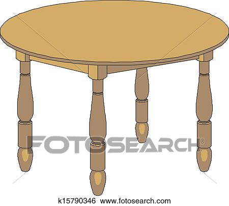 Clip Art of wooden round table k15790346 Search Clipart