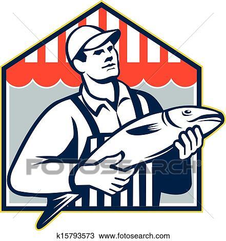 Clipart - poissonnier, avoirs pêchent, retro k15793573 ...