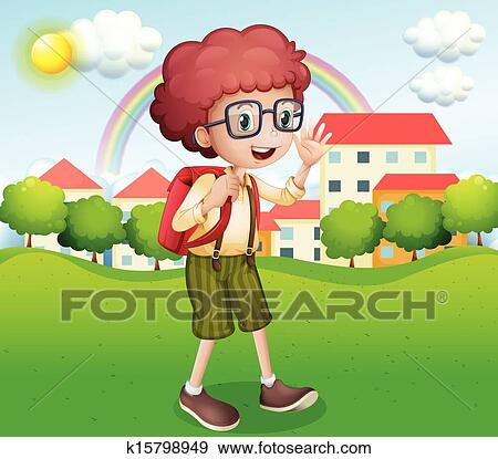 Clip Art of A boy going home from school k15798949 ...