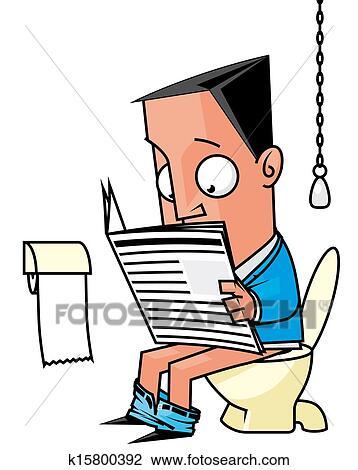 クリップアート - ビジネスマン, 新聞を読む, 中に, ∥, トイレ.... ビジネスマン,