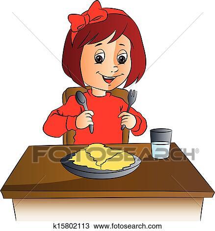 Children eating Clip Art Vector Graphics 7381 children eating