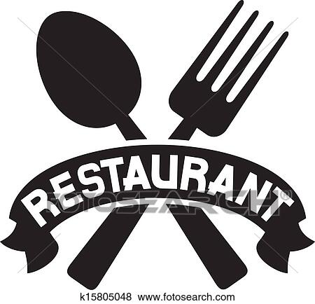 Crossed fork and spoon clip art