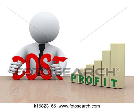 Stock Illustration of 3d businessman cost reduction ...