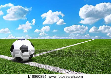 Stock Image of Football and soccer field grass stadium ...