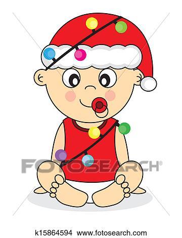 剪贴画 带有的婴儿, 圣诞老人