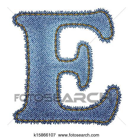 Clip Art of Jeans alphabet. Denim letter E k15866107 ... - photo#30
