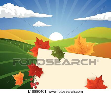 剪贴画 - 矢量, 秋天风景