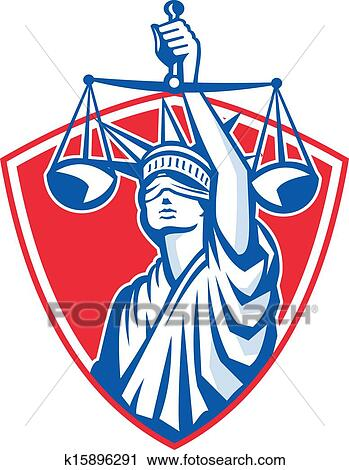 clipart of statue of liberty raising justice weighing