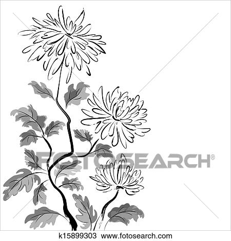 Clipart of Chinese chrysanthemum. Ink painting k15899303 - Search ...