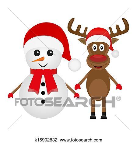 Clipart no l renne et bonhomme de neige k15902832 recherchez des clip arts des - Clipart bonhomme de neige ...