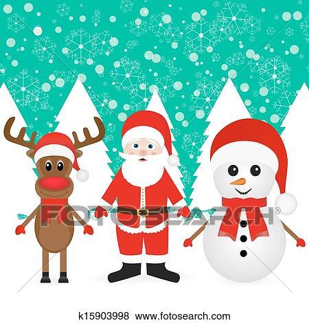 剪贴画 雪人, 圣诞老人, 同时,, 驯鹿