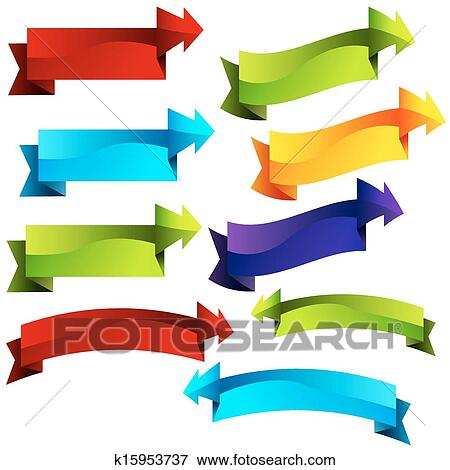 Clip Art of 3D Arrow Banner Callouts k15953737 - Search Clipart ...