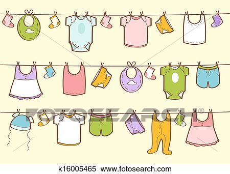 失量图库 - 漂亮, 手, 画, 婴儿衣服图片