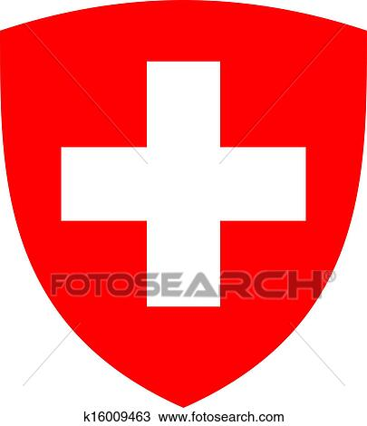 Drawing of Swiss cross and shield k16009463 - Search Clipart ...