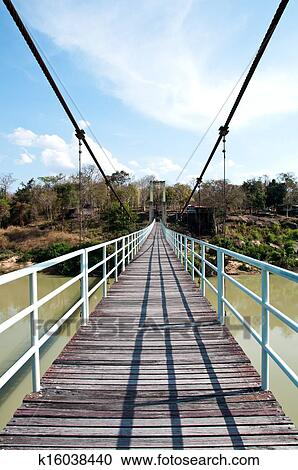 Rope bridge in Kangtana National park at Ubonratchathani, Thailand ...