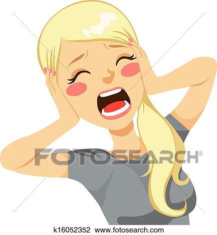 Fille de dessin animé crier