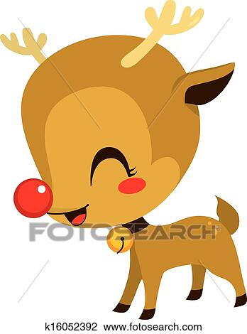 Illustration of cute little Rudolph the red nosed reindeer cartoon ...