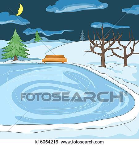 Clipart ext rieur patinoire k16054216 recherchez des for Patinage exterieur