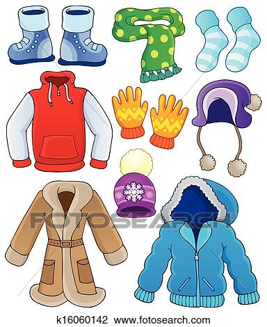 Clipart winter clothes collection 3 fotosearch search clip art