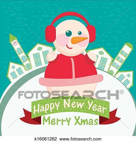 剪贴画 - 高兴的新年, 贺卡, -, 家, 背景;, 带, 雪人.图片