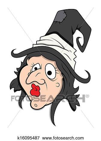 Clip art lustig hexe zeichen gesicht vektor - Image halloween drole ...