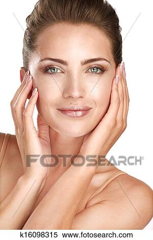 Stock Image of beautiful model showing her perfect skin ...