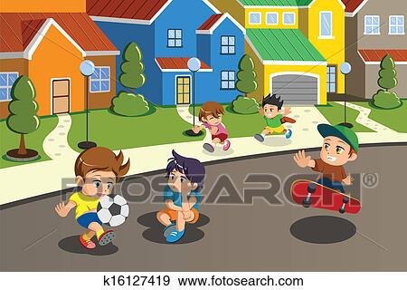 neighborhood clipart. clip art kids playing in the street of a suburban neighborhood fotosearch search clipart l