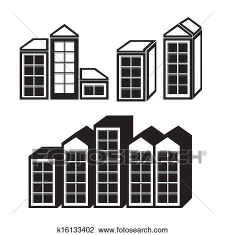 牙签房子平面粘贴画-剪贴画 房产, 图标