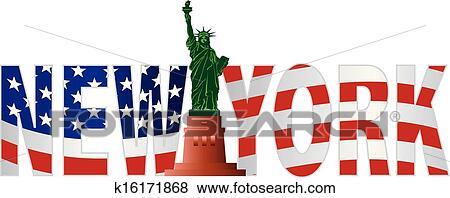 clipart new york texte contour drapeau usa dans couleur k16171868 recherchez des. Black Bedroom Furniture Sets. Home Design Ideas