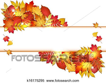 Clipart of Autumn banner with leaves. k16175295 - Search ...
