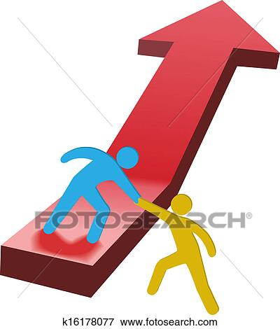 Clip Art of People helping hand up arrow 3D k16178077 - Search ...