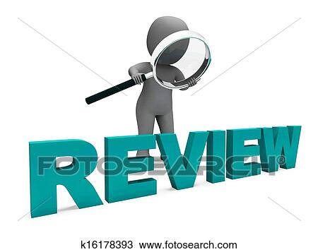 Drawing of Review Character Shows Assess Reviewing ...