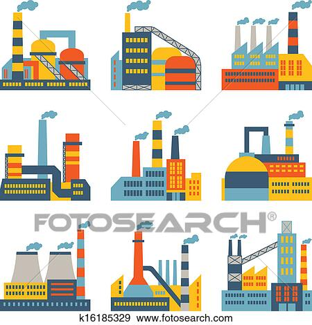 Clip Art of Industrial factory buildings icons set in flat ...