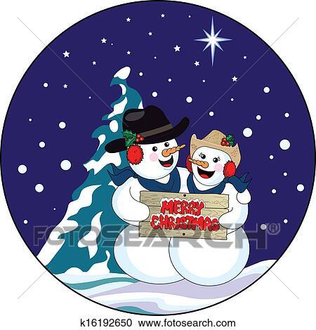 剪贴画 - 圣诞节, 雪人