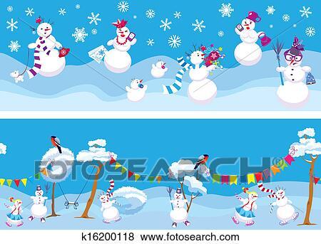 剪贴画 - 放置, 在中, (2, 水平, seamless, 背景, 带, 漂亮, 雪人图片