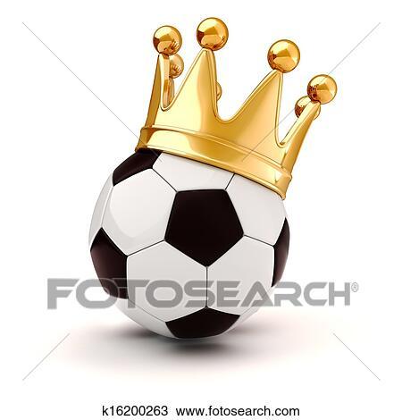 手绘图 - 3d, 足球, 同时,, 金色的王冠图片