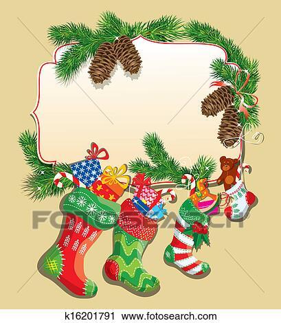 剪贴画 - x mas, 同时,, 新年, 卡片, 带, 家庭圣诞节, stockings.图片