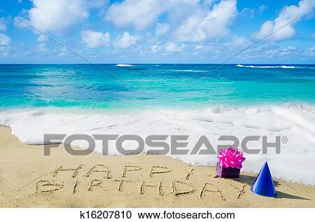 Stock Photography Of Sign Happy Birthday On The Sandy Beach
