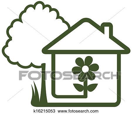 disegno Casa Giardino : ... , con, landscaping, simbolo, -, albero, casa, fiore, e, casa, garden