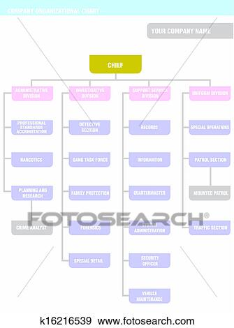 Clip Art Of Company Organization Chart K16216539 - Search Clipart