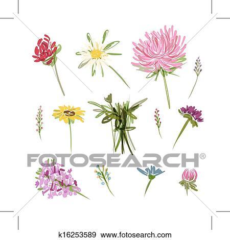 Clip art satz von kleingarten blumen skizze f r for Kleingarten design