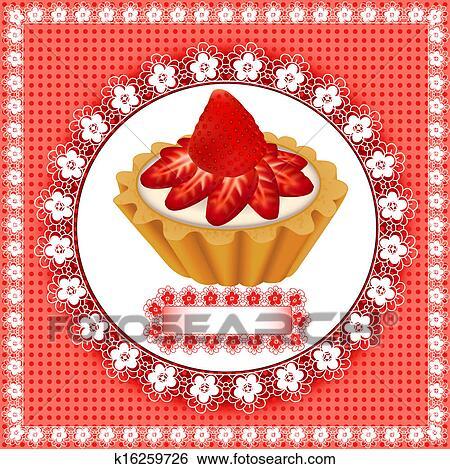 clip art hintergrund mit a fruchtig nachtisch kuchen mit erdbeeren k16259726 suche. Black Bedroom Furniture Sets. Home Design Ideas
