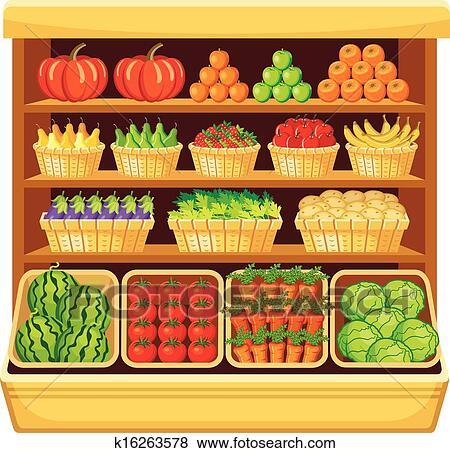 clip art of supermarket vegetables and fruits k16263578