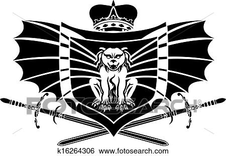 Clip Art of Gargoyle shield stencil with crown k16264306 - Search ...