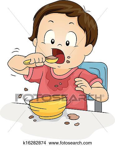 Baby Eating Cake Clipart : Clipart - garcon, manger k16282874 - Recherchez des Clip ...